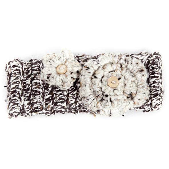 Winter Headband / Girls - Brown Speckled with Flower