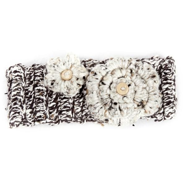 Winter Headband / Girls - Brown Speckled with Flower